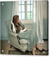 Young Woman In A Chair Acrylic Print