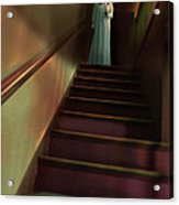 Young Woman In Nightgown On Stairs Acrylic Print by Jill Battaglia