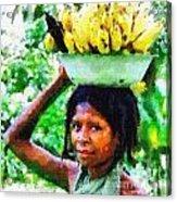 Young Woman With Bananas Acrylic Print