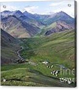Yurts In The Tash Rabat Valley Of Kyrgyzstan  Acrylic Print