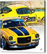 Yellow Z28 Camaro Acrylic Print