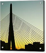 Zakim Bridge Silhouette Acrylic Print