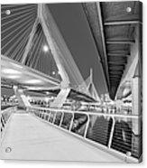 Zakim Bridge Twilight In Boston Bw Acrylic Print