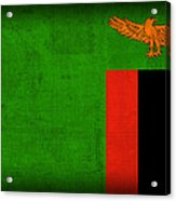Zambia Flag Distressed Vintage Finish Acrylic Print