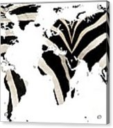 Zebra Fur World Map Acrylic Print