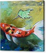 Zen Butterfly Koi Acrylic Print by Michael Creese