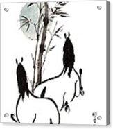 Zen Horses Moon Reverence Acrylic Print