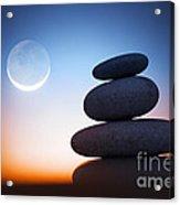 Zen Stones At Night Acrylic Print