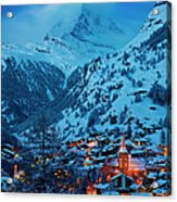 Zermatt - Winter's Night Acrylic Print by Brian Jannsen