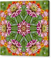 Zinging Zinnia Kaleidoscope Acrylic Print