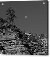 Zion National Park And Moon In Black And White Acrylic Print