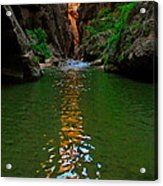 Zion Reflections - The Narrows At Zion National Park. Acrylic Print