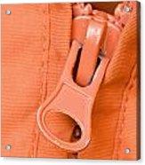 Zipper Of A Orange Jacket Acrylic Print