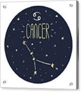 Zodiac Signs Doodle Set - Cancer Acrylic Print