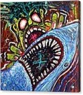 Zombie Shark Fight Acrylic Print