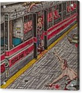 Zombies On The Red Line Acrylic Print by Richie Montgomery