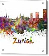 Zurich Skyline In Watercolor Acrylic Print