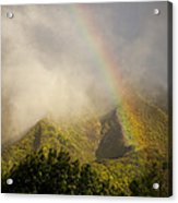 A Rainbow Shines Over The Rugged Acrylic Print