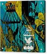 3 Caged Birds Grunge Acrylic Print
