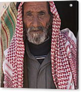 A Bedouin Man At The Camera In Front Acrylic Print by Taylor S. Kennedy
