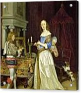 A Lady At Her Toilet Acrylic Print by Gerard ter Borch