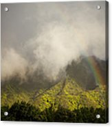 A Rainbow Shines Over The Rugged Acrylic Print by Taylor S. Kennedy