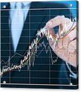 Businessman Writing Graph Of Stock Market  Acrylic Print by Setsiri Silapasuwanchai