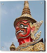 Demon Guardian Statues At Wat Phra Kaew Acrylic Print by Panyanon Hankhampa