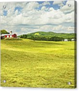 Hay Harvesting In Field Outside Red Barn Maine Acrylic Print