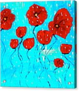 The Red Poppies Dancing In The Rain Acrylic Print by Pretchill Smith
