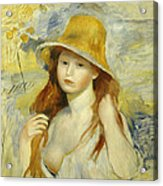 Young Girl With A Straw Hat Acrylic Print
