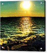 0001 Windy Waves Sunset Rays Acrylic Print