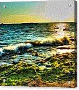 00015 Windy Waves Sunset Rays Acrylic Print