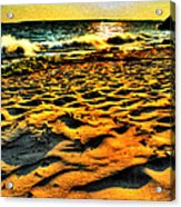 0008 Windy Waves Sunset Rays Acrylic Print