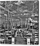 005bw On A Summers Day  Erie Basin Marina Summer Series Acrylic Print