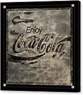 Coca Cola Sign Grungy Red Retro Style Acrylic Print
