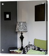 A Bedroom In A House. A Double Bed Acrylic Print