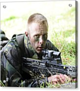 A British Soldier Armed With A Sa80 Acrylic Print