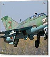 A Bulgarian Air Force Mig-21um Jet Acrylic Print by Anton Balakchiev