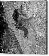 A Caucasian Women Rock Climbing Acrylic Print