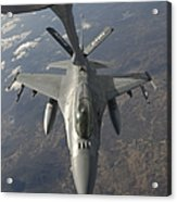 A Chilean Air Force F-16 Refuels Acrylic Print