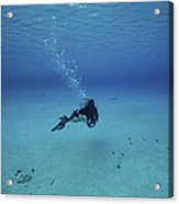 A Diver On A Scooter Explores The Clear Acrylic Print