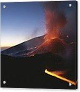 A Fiery New Cone On Mount Etna Upstages Acrylic Print