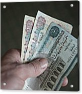 A Hand Holds Egyptian Pounds In Cash Acrylic Print