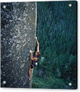 A Rock Climber In Montanas Hyalite Acrylic Print