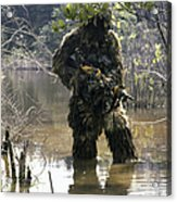 A Sniper Dressed In A Ghillie Suit Acrylic Print