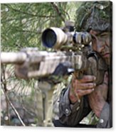 A Sniper Sights In On A Target Acrylic Print