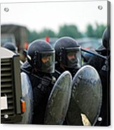 A Training Session In Riot And Crowd Acrylic Print by Luc De Jaeger