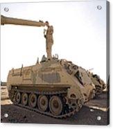 A Us Army Mechanic Uses A M113 Acrylic Print