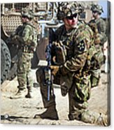 A U.s. Army Soldier Provides Security Acrylic Print